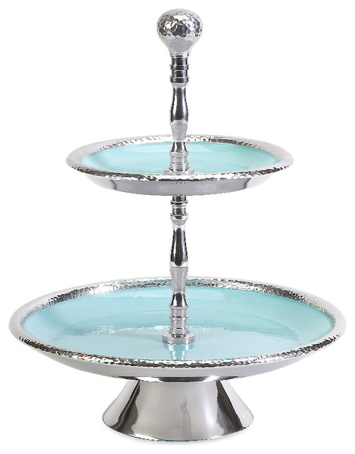 Donna Enamel Two Tier Serving Dish Plate Stand Chrome Silver Decor  sc 1 st  Houzz & Donna Enamel Two Tier Serving Dish Plate Stand Chrome Silver Decor ...