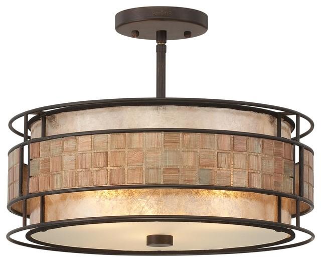 3 Light Standard Bulb Semi Flush Mount In Renaissance Copper.