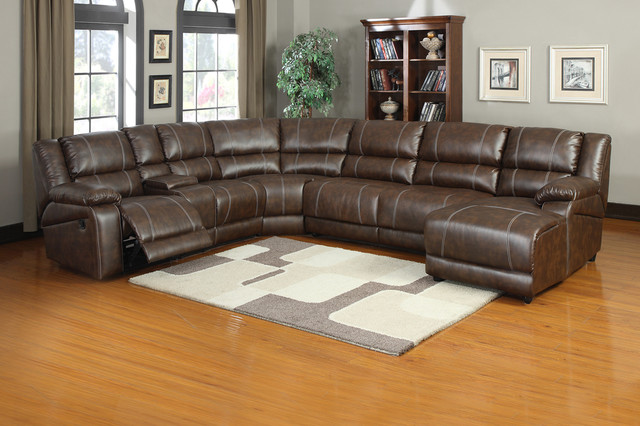 Soft brown leather reclining sectional sofa push back for Brown leather chaise end sofa