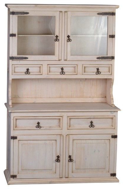 "White Kitchen Dresser mexico ""old white"" kitchen dresser - rustic - display cabinets"