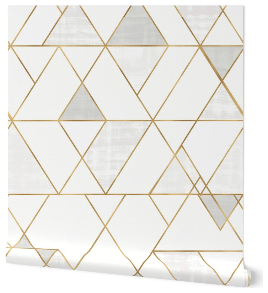 Gold And White Mod Triangles Wallpaper Scandinavian Wallpaper By Roostery