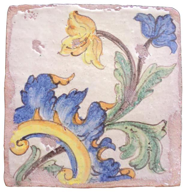 Piastrelle Maiolica Azure Bloom Terracotta Tiles, Set of 4