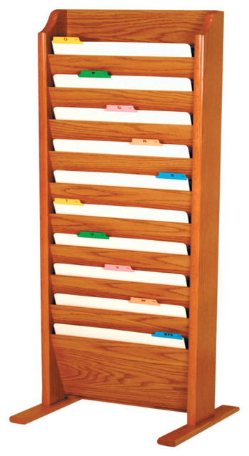Free Standing 10 Pocket Legal Size File Holder, Medium Oak.