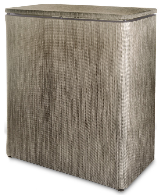 Lamont Home Westbury Textilene Upright Hamper, Sage And Brown.
