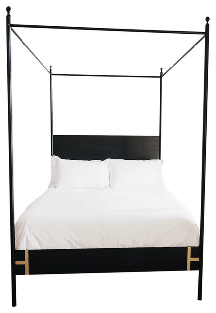 The Josephine Bed Four Poster Black Iron Canopy Bed