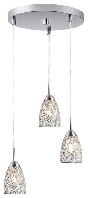Venezia 3-Light Pendant, Clear Mosaic Glass.