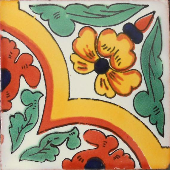 "4""x4"" Mexican Ceramic Handmade Tile C052."