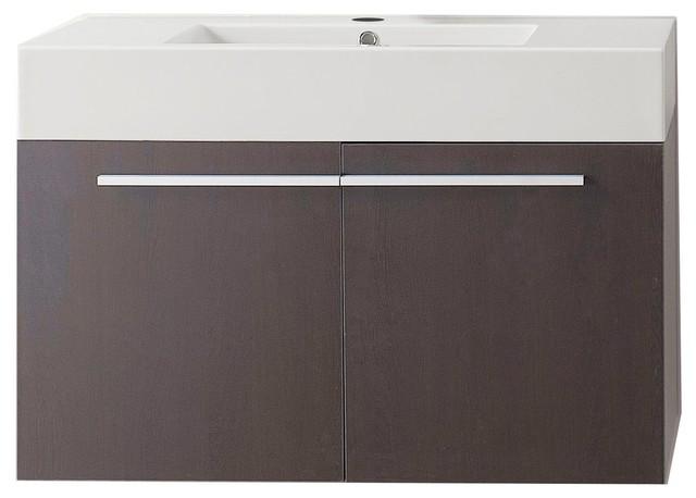 Virtu Usa Midori 36 Single Bathroom Vanity With White Polymarble Top, Wenge.
