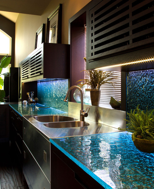 Kitchen glass countertop