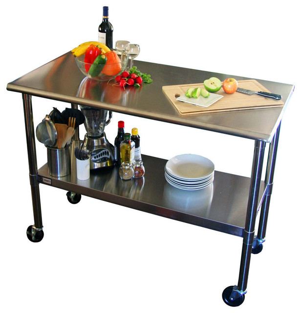 2u00274u0027 Stainless Steel Top Kitchen Prep Table With Locking Casters Wheels  Contemporary