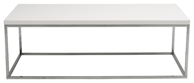 Abigail Rectangular Coffee Table, White Lacquer And Polished Stainless Steel.