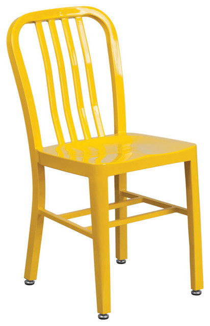 Offex Yellow Metal Indoor, Outdoor Chair.