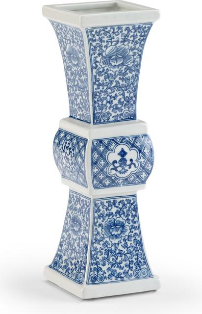 Zhu Vase, Blue, White Glaze