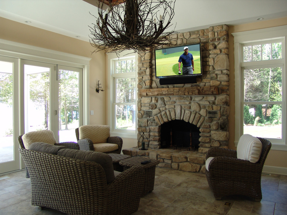 Rustic and Refined Sunroom Television Installation