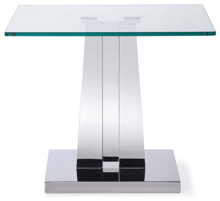 Modern Deta End Table Clear Glass With Polished Stainless Steel Base Contemporary Side Tables And End Tables By Zuri Furniture