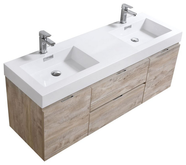 "Bliss 60"" Double Sink Wall Mount Bathroom Vanit, Nature Wood"