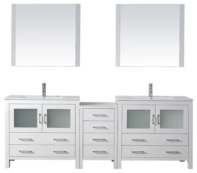 "Dior 90"" Double Bathroom Vanity Set White, Ceramic Top."