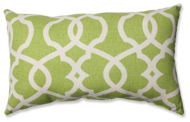 Lattice Damask Blue Rectangular Throw Pillow, Leaf
