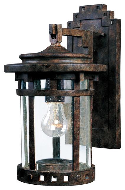 Santa Barbara Cast 1-Light Outdoor Wall Lantern, Sienna With Seedy Glass/shade.
