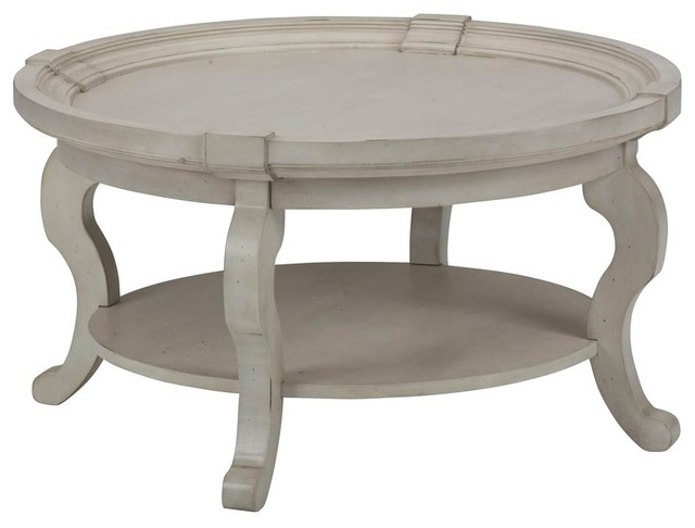 Round Cocktail Table In White.