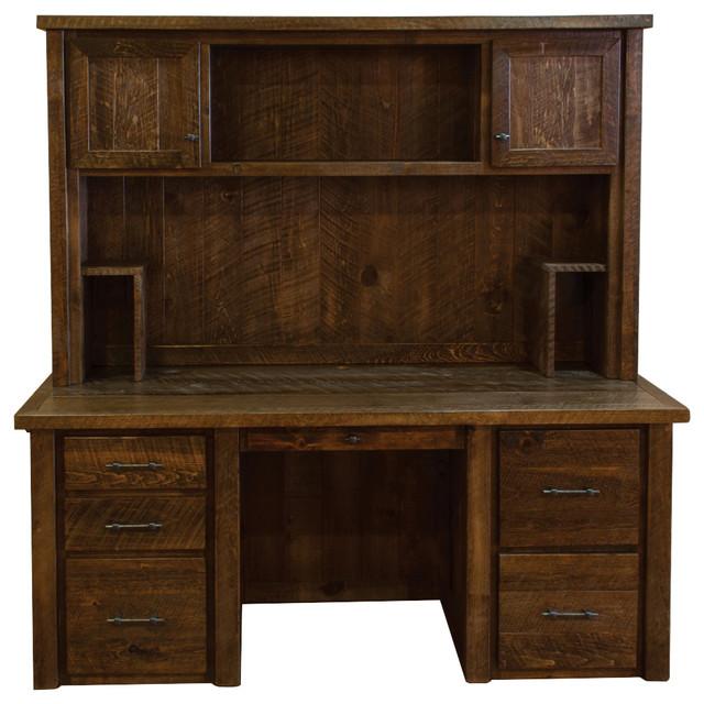 Rustic Americana Hardwood Executive Desk Home Office: Rustic Barn Wood Timber Peg Executive Desk With Hutch