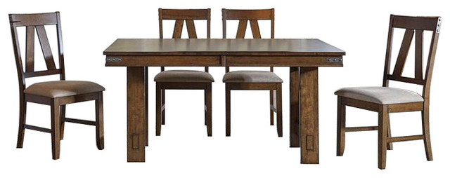 A America Eastwood 5 Piece Trestle Dining Room Set Butterfly Leaf Rich