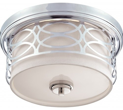 Harlow, 2 Light Flush Dome Fixture With Slate Gray Fabric Shade.