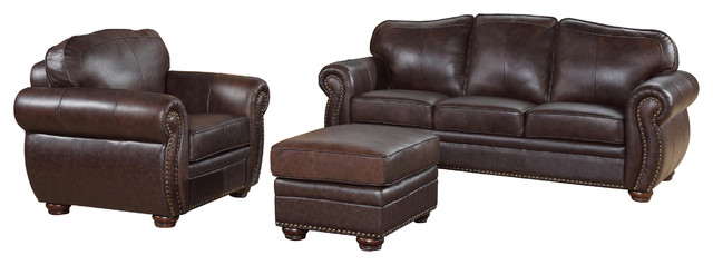Palazzo 3-Piece Leather Living Room Set, Brown.