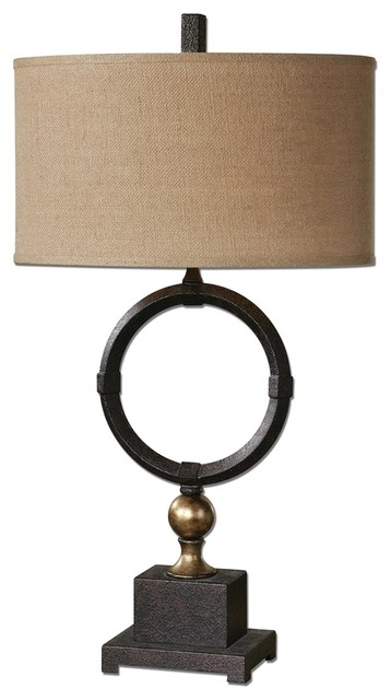 Pueblo black circle table lamp by designer carolyn kinder transitional table lamps