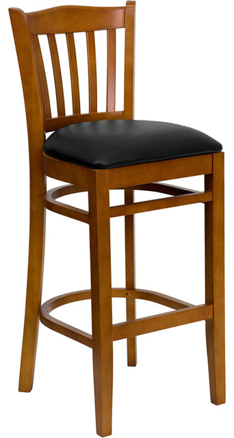 Flash Furniture Hercules Series Vertical Slat Back Wooden Barstool Traditional Bar Stools And Counter By Beyond S