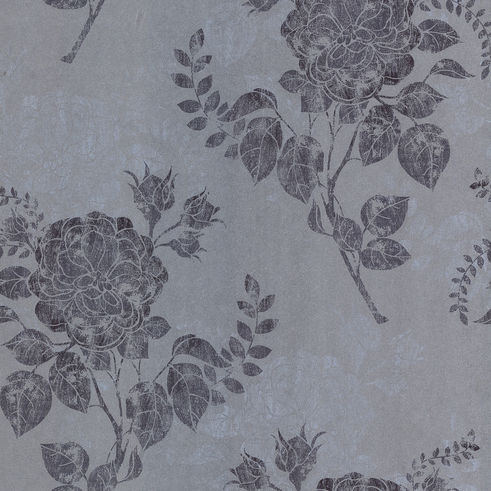 Salon Turquise Floral Wallpaper Contemporary Wallpaper By