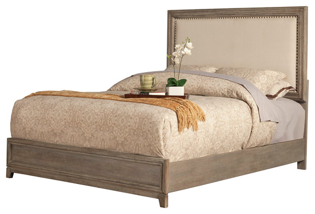 Camilla Panel Bed With Upholstered Headboard And Nailheads Farmhouse Pane