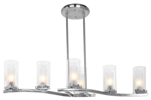 Access Lighting 50507BSFRC Six Light Steel Candle Island Light
