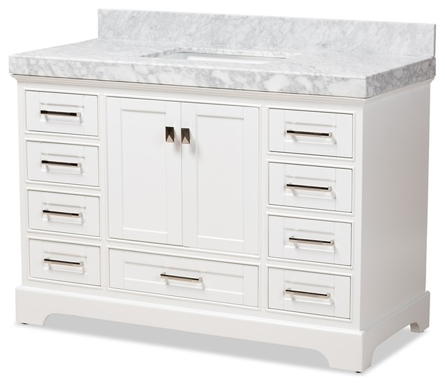 48 Inch Transitional White Finished Wood And Marble Single Sink Bathroom Vanity