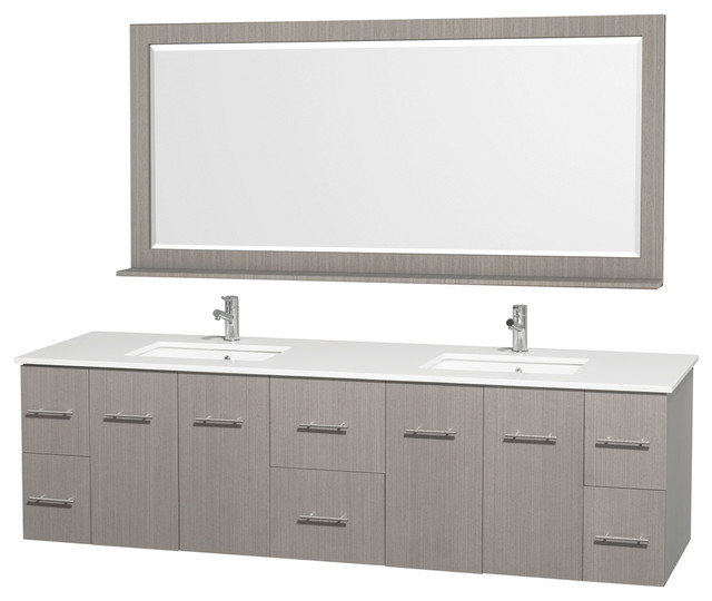 Centra 80 Dbl Vanity, Square Porcelain Undermount Sinks, Gray Oak, White Stone.