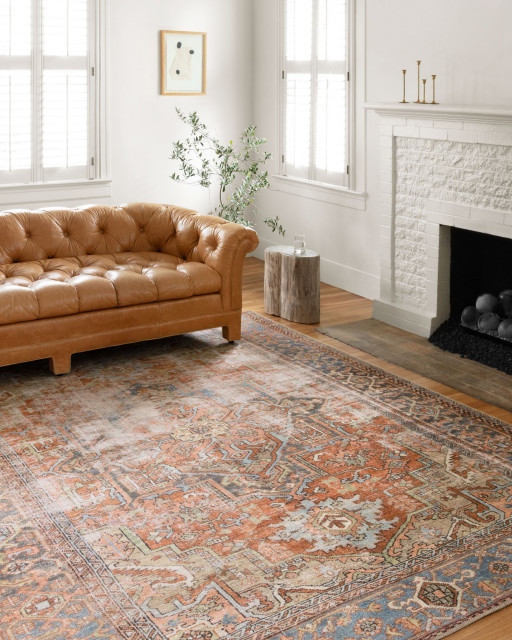 """Terracotta, Blue Printed Polyester Loren Area Rug by Loloi, 8'4""""x11'6"""""""