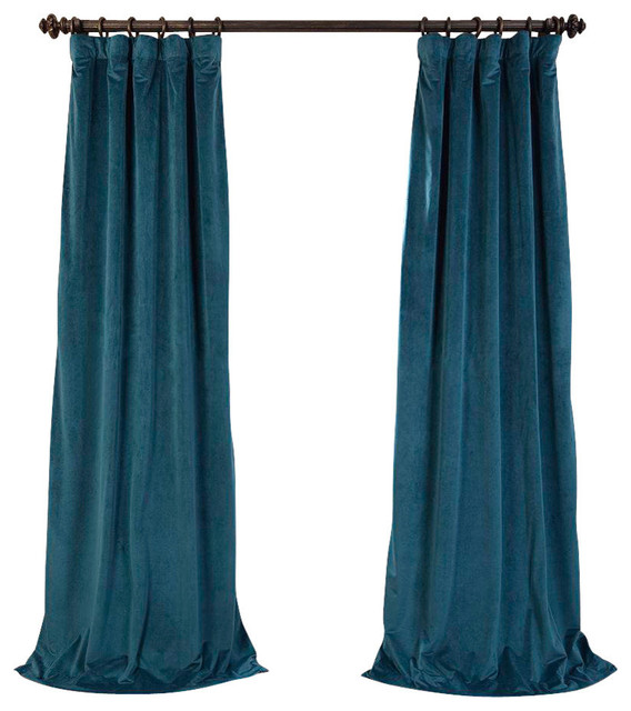 "Vivienne Velvet Blackout Curtain Panel, Teal, 50""x96""."