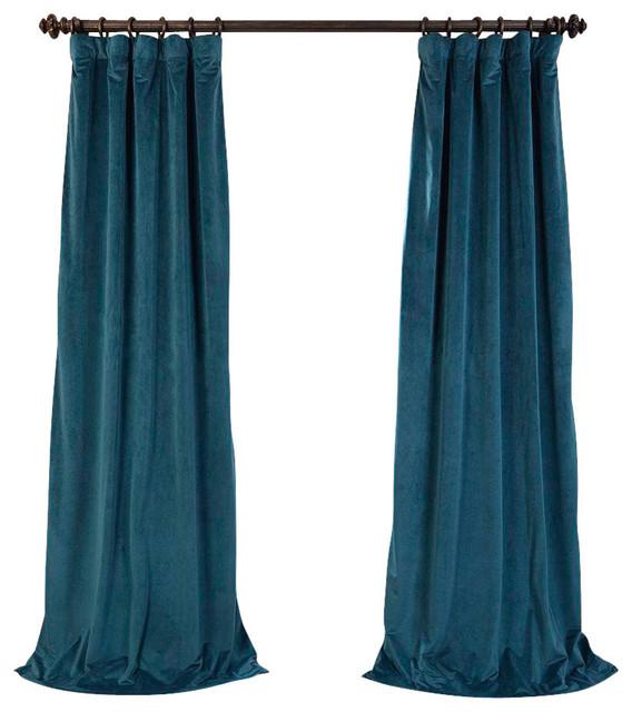 "Vivienne Velvet Blackout Curtain Panel, Teal, 50""x96"". -1"