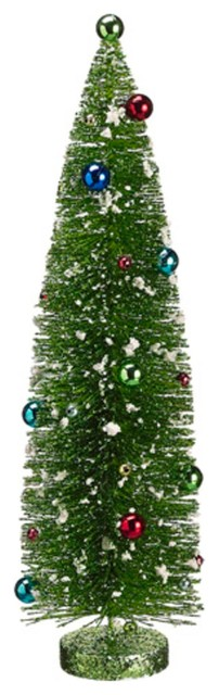 "Contemporary Christmas Tree 18"" pre-decorated flocked glitter bottle brush christmas tree"