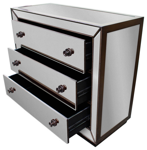 Hazelnut Trimming Mirrored 3-Drawer Chest, Silver