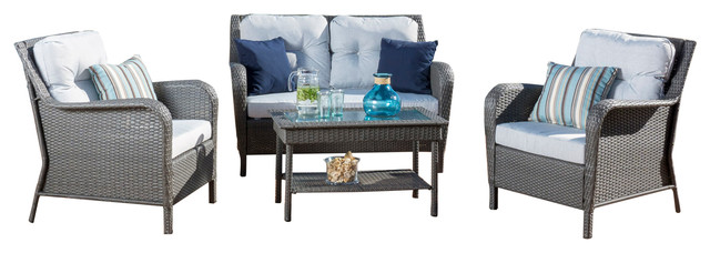 Westergren, Gray, Pe Wicker Chat 4-Piece Set.