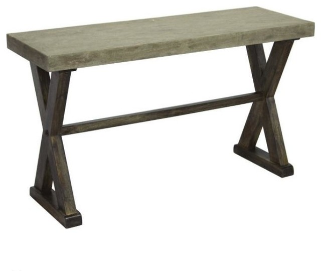 console table with concrete top and pine wood base