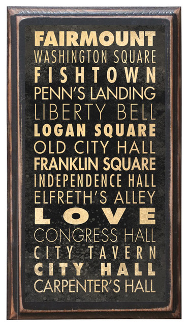 Philadelphia Pa Points Of Interest Home Decor Wall Art Plaque Sign Gift Present.
