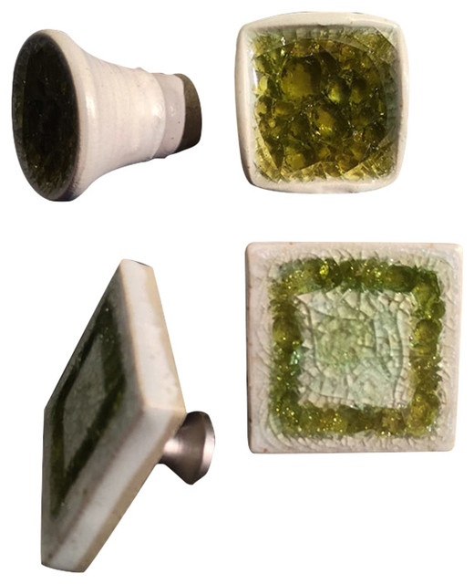 Paloma Pottery - Cabinet Knobs Pulls Square Recycled Glass & Reviews | Houzz