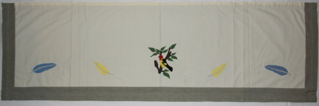 "Feathered Friends Curtain Valance 54""x16""."