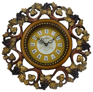 Round Decorative Polyresin Hand-Painted Wall Clock w/Swinging Pendulum - Traditional - Wall ...