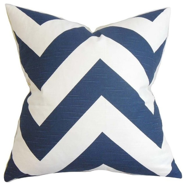 "The Pillow Collection 20"" Square Eir Zigzag Throw Pillow."