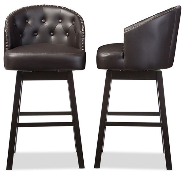 Avril Faux Leather Tufted Swivel Barstool With Nail Heads Trim Set Of 2 Brown