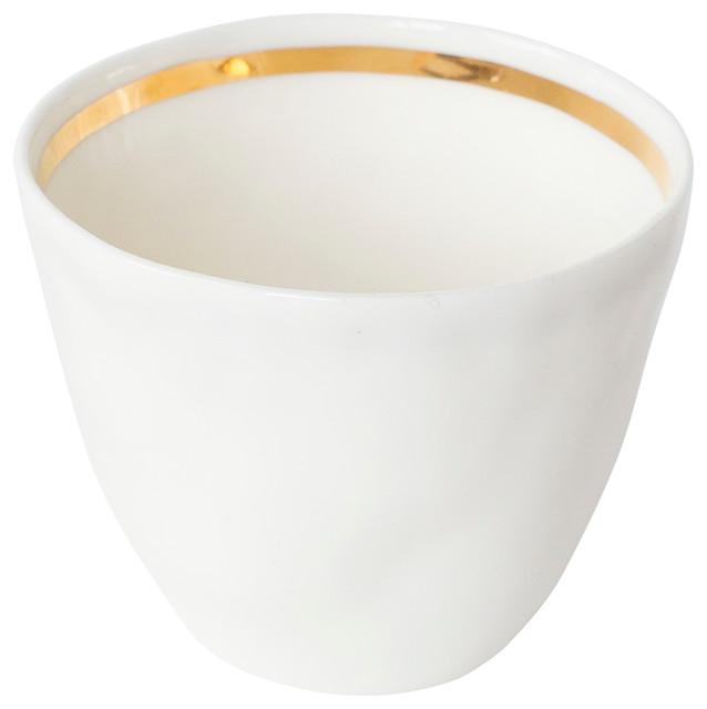 Porcelain and Gold Mugs, Set of 4
