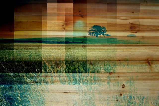 """pusledge"" Uv Ink Print On Natural Pine Wood, 45""x30""."